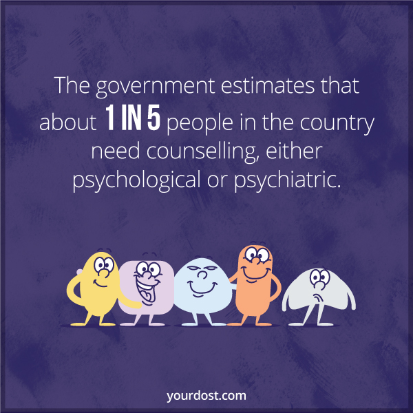 The government estimates that about 1 in 5 people in the country need counselling, either psychological or psychiatric