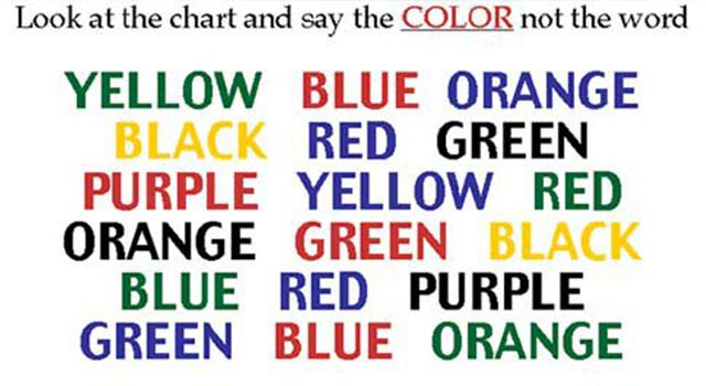 look at the chart and say the colour not the word
