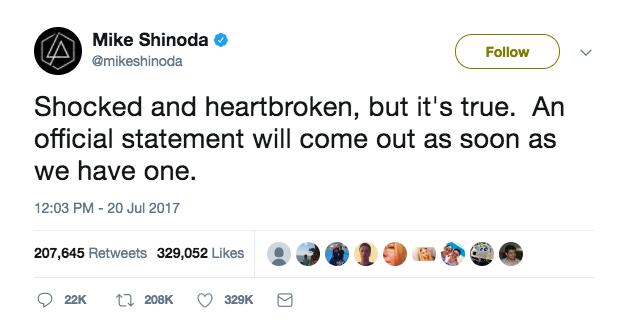 Mike Shinoda's tweet