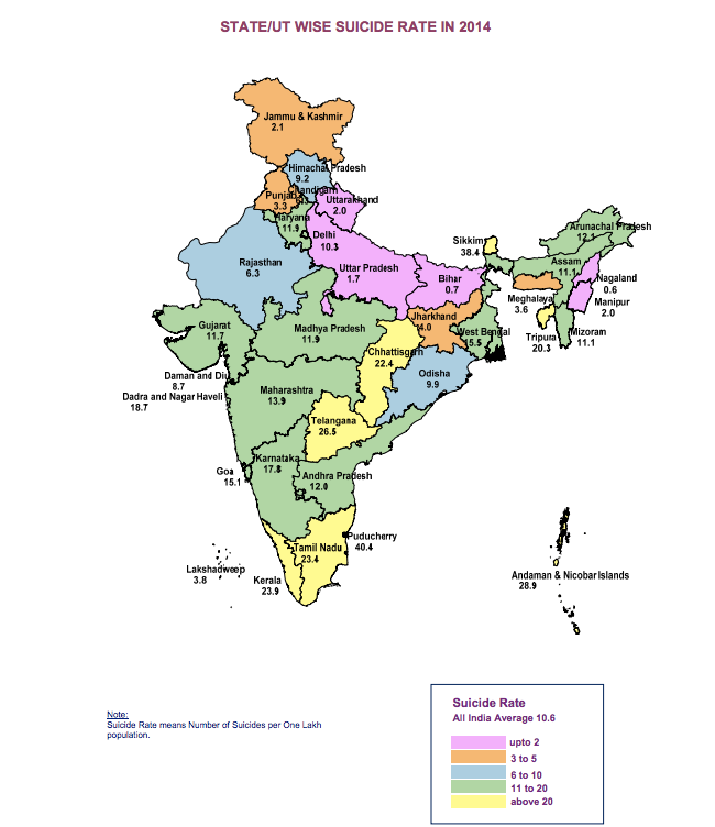 Suicide rates in Indian states per 1 lakh people (Source : NCRB)